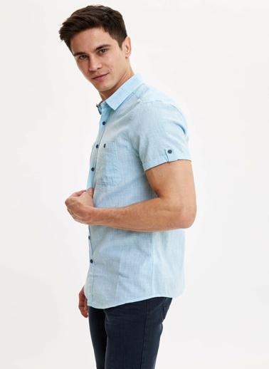 DeFacto Slim Fit Kısa Kollu Gömlek Mavi